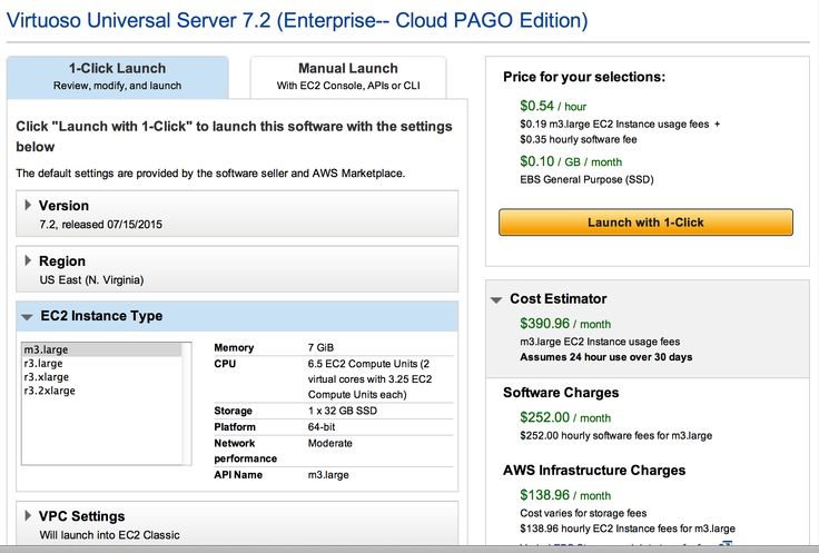 EC2 instance launch dialog, PAGO